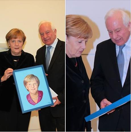 Cajus Caesar übergab unserer Bundeskanzlerin Angela Merkel ein Portrait, gemalt von Wolfgang Rose, einem Kunstmaler aus Blomberg